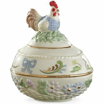 Lenox 2015 Rooster Easter Egg Box Opens Regal Chicken Flowers Animal NEW IN BOX (Easter Egg Chicken)