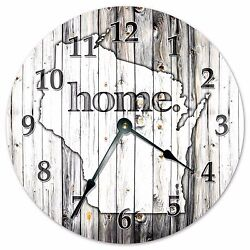 WISCONSIN RUSTIC HOME STATE CLOCK - Large 10.5 Wall Clock - 2259