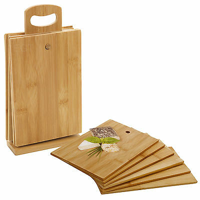 6 Pcs Bamboo Chopping Cutting Slicing Boards With Display Stand Fruit Vegetable