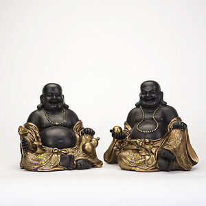 set happy buddha deko figur feng shui skulptur buddhismus statue budda gl ck. Black Bedroom Furniture Sets. Home Design Ideas