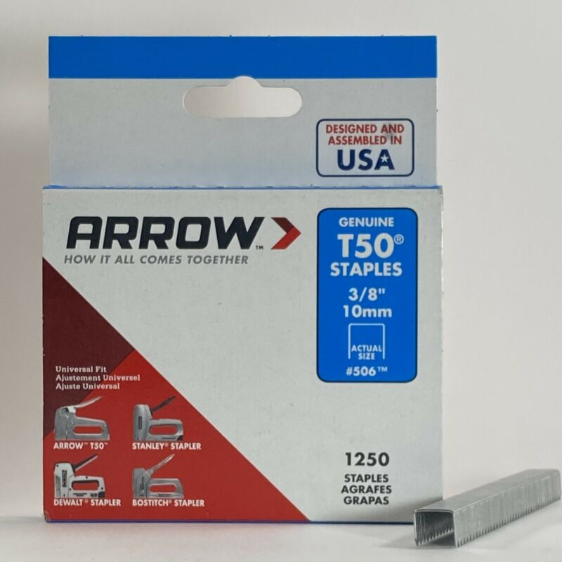 Arrow T50 3/8in. Leg x 3/8 in. Crown - Galvanized Steel Staples - 1250 Pack #506