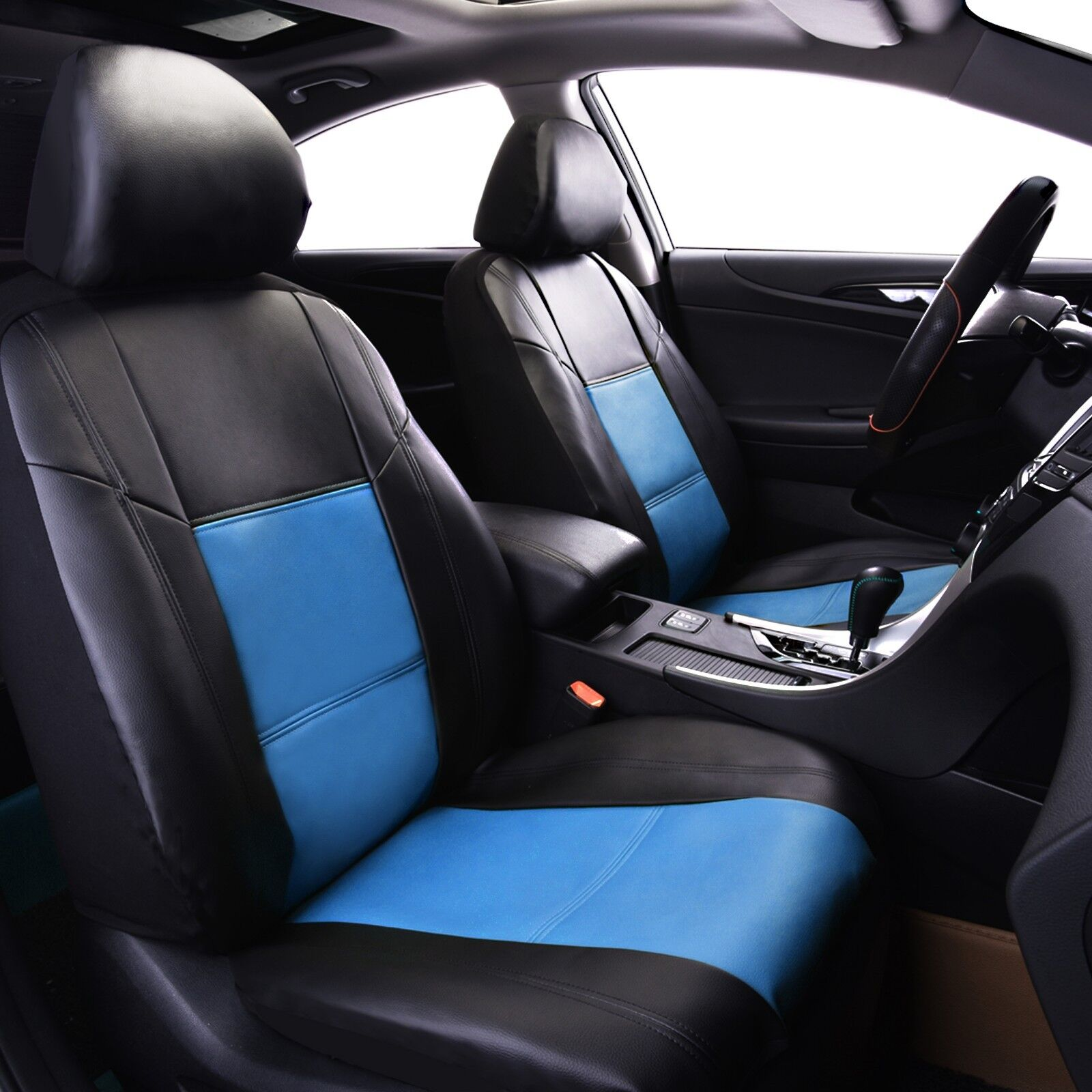 Universal PU Leather Two Front Black Blue Car Seat Cover Set