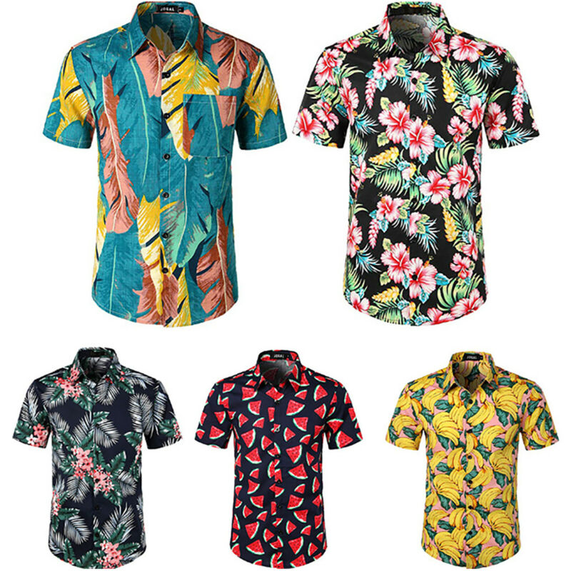 Herren Hawaiihemd Kurzarm Shirts Slim Fit Hemd Freizeit Hemden T-Shirt Tops DE