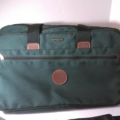 "Samsonite 20"" Green Canvas Brown Leather Gym Travel Overnight Bag"