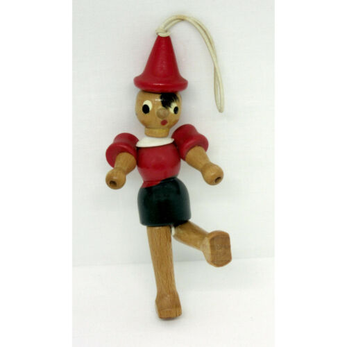 """Pinocchio Articulated Hand Painted Wood Ornament 4-1/4"""" Vintage"""