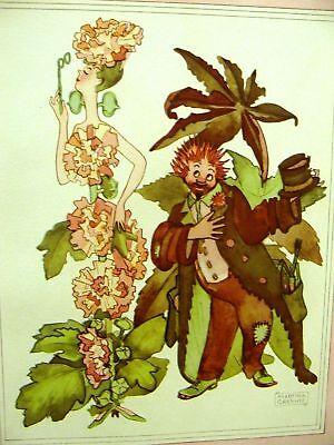 Grenwis HOLLYHOCK CASTOR BEAN FLOWER CHILD 1936 Print Matted