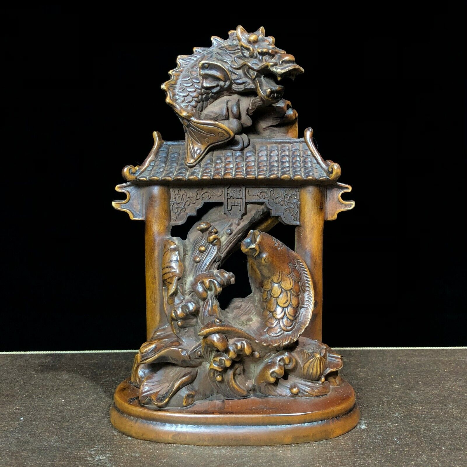 Collectible Chinese Old Boxwood Carved Plum Blossom Hand Pieces Teapot Statue