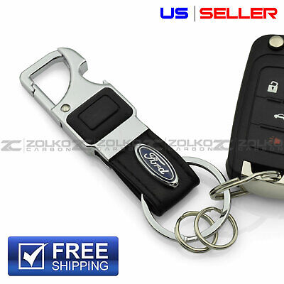 Led Key Chains (LED FLASHLIGHT KEYCHAIN KEY FOB CHAIN RING BLACK LEATHER FOR FORD - US SELLER)