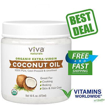 VIVA NATURALS Supplement Virgin Coconut Oil Organic Cold Pressed Pure Unrefined 16 oz