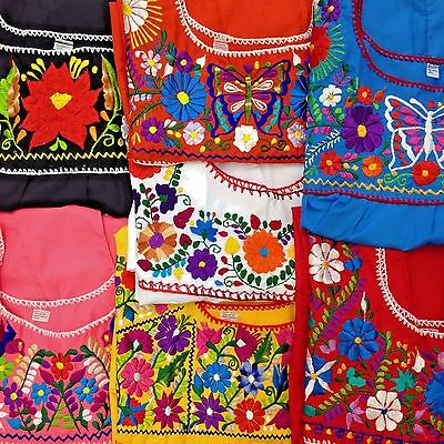 e99efdd61d5 Puebla Mexican Hippie Peasant Vintage Embroidered Blouse Top Assorted Colors