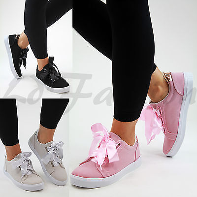 New Womens Flatform Trainers Flat Lace Up Plimsolls Suede Look Shoes  Trainer Suede Flats