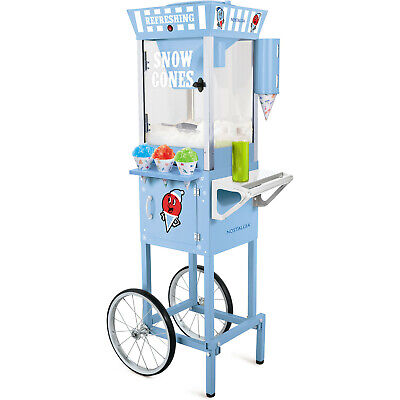 Snow Cone Machine W Antique Style Trolley Cart Stand Shaved Ice Snowcone Maker
