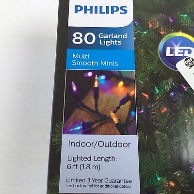 Philips 80ct LED Christmas Smooth Mini Garland String Lights Multicolored. C1