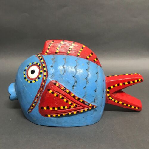 AFRICAN ART BOZO PUPPET PAINTED FISH
