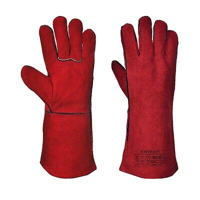 Portwest A500 Welders Gauntlet Split Leather Welding Gloves Xl Red Free Ship