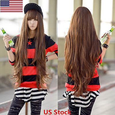 US 80cm Long Curly Women Girl Anime Cosplay Wavy Hair Wig Halloween Light Brown - Long Brown Curly Wig Halloween