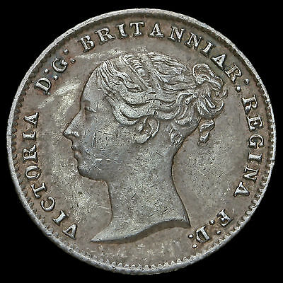 1854 Queen Victoria Young Head Silver Fourpence / Groat