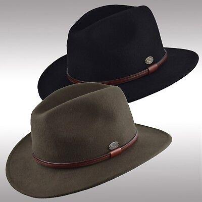 Premium Quality Men's Felt Wool Outback Fedora Indiana Jones Crushable Hat Fhe61
