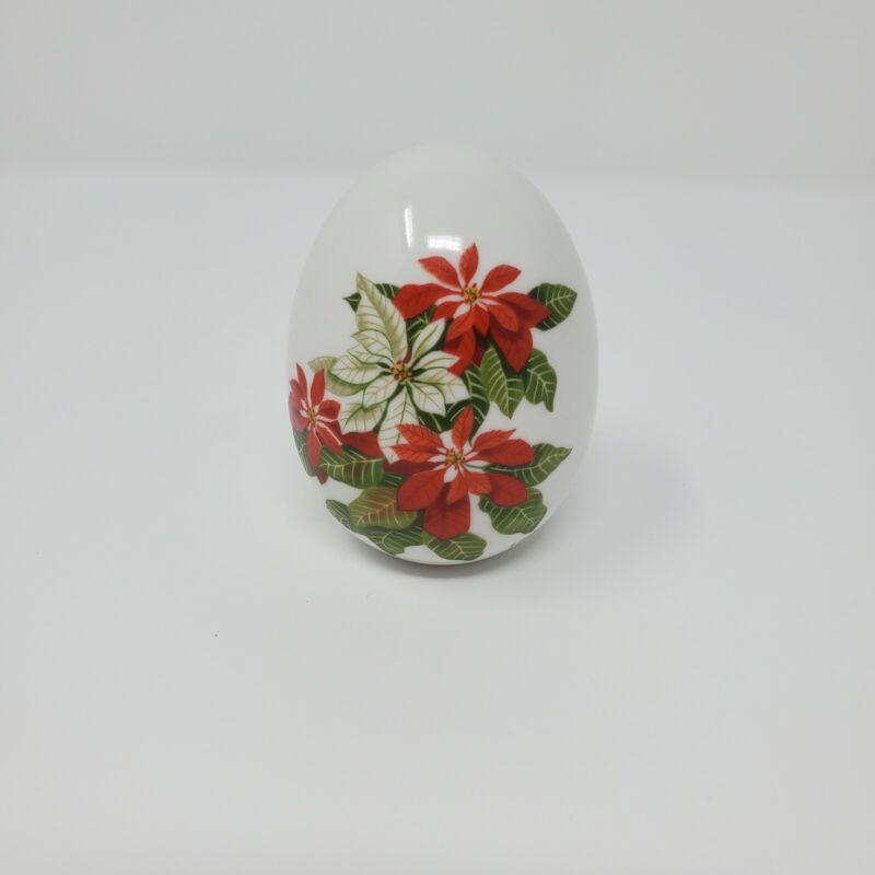 """Avon Porcelain Egg – Winter's Treasure -  Poinsettias-  1987 - 3"""" tall"""