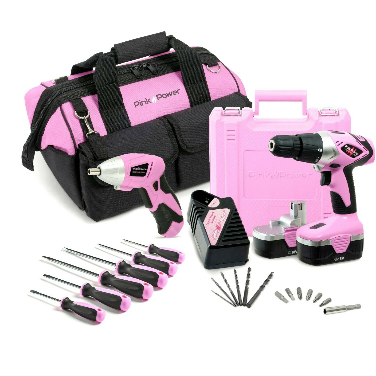 Pink Power 18V Cordless Drill Driver & Electric Screwdriver