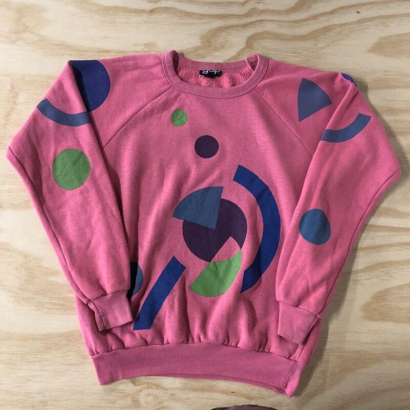Vintage 80s Gap Sweatshirt Geometric Shapes Abstract Crewneck Art Design Pink