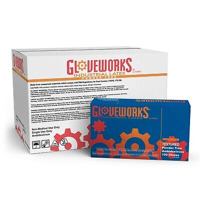 Gloveworks Ivory Latex Industrial Powder Free Disposable Gloves Box Of 100