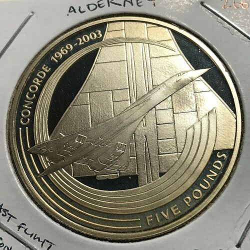 2003 ALDERNEY SILVER PROOF 5 POUNDS LAST FLIGHT OF CONCORDE SCARCE CROWN