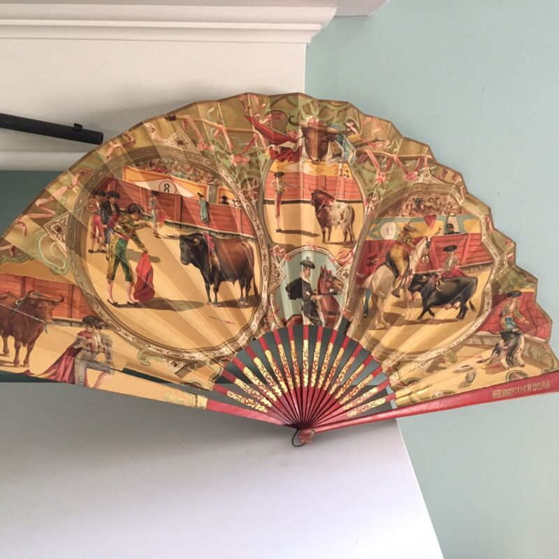 """Large Vintage Spanish Folding Hand FAN Bull Fights fighting Spain 26""""x14"""" Paper"""