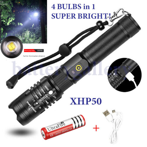 XHP50 Flashlight Zoomable 990000Lumens Rechargeable USB Torch Super Bright Light