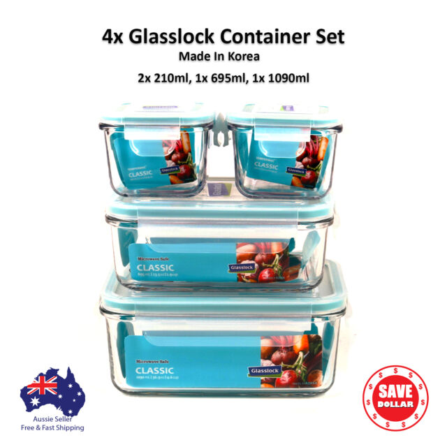 Gllock 4x Tempered Gl Food Container Storage Set Microwave Safe Bpa Free