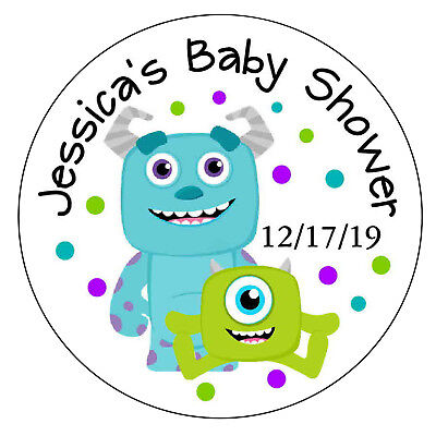 20 MONSTERS INC BABY SHOWER FAVORS POPCORN LABELS STICKERS 4 LOLLIPOP GOODY BAGS (Monster Baby Shower)