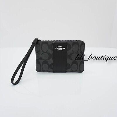 NWT Coach F58035 Corner Zip Wristlet Wallet Signature PVC Leather Black Smoke 78