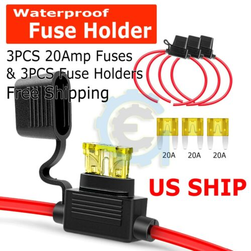 3 PACK 14 GAUGE MINI ATC FUSE HOLDER IN-LINE AWG WIRE COPPER 12 VOLT POWER BLADE