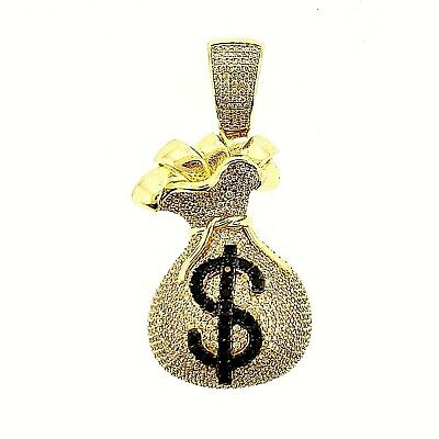 14K Gold Plated 925 Sterling Silver CZ Iced Money Bag Hip Hop Pendant -