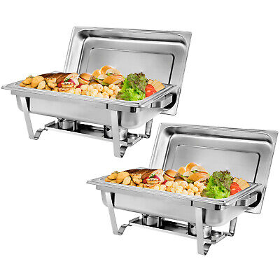 8 Qt Stainless Steel 2 Pack Chafer Dish For Buffetweddings Parties Banquets