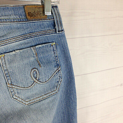 Hippie womens size 5 stretch blue faded distressed light wash bootcut jeans