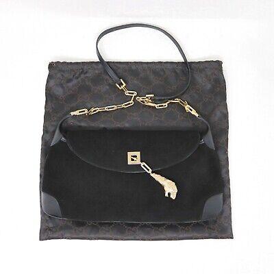 Gucci Gold Tiger Charm Handbag Tom Ford Era Vintage Black Suede Rare Flawless