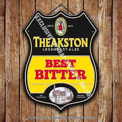 Theakston Bitter Bier Werbe bar, Alte Pub Metall Pumpe Abzeichen Schild