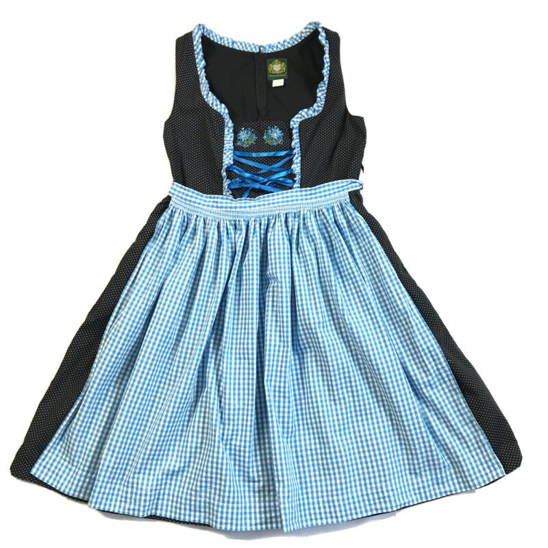 HAMMERSCHMID Dirndl Black Dress & Blue Apron, German Sz 46, See Measurements