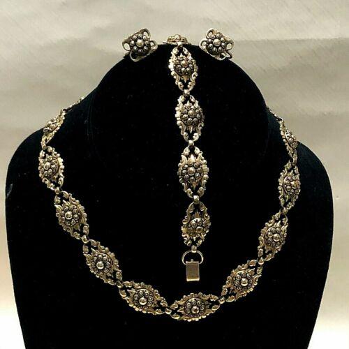 SET BB BINDER BROS Art Nouveau Necklace Earrings Bracelet Deco 1/20 12K GF m7