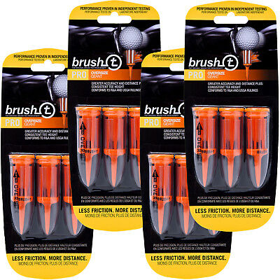 4 PACKS of 3 Brush T Oversize Orange Golf Tees - More Distance, Low Friction