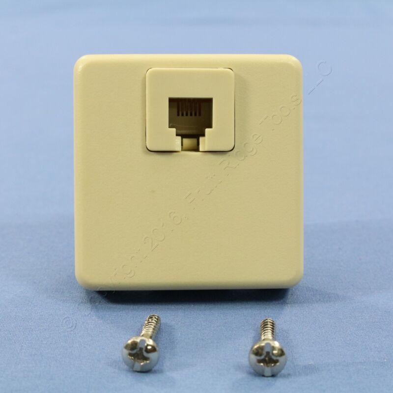 Leviton Ivory 4-Wire Surface Mount Phone Jack Telephone C0245-I