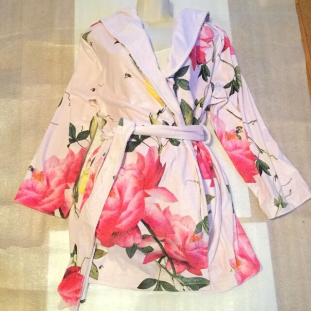 B by Ted Baker Citrus Bloom Short Robe Pink Dressing Gown Size 12 -14 Medium