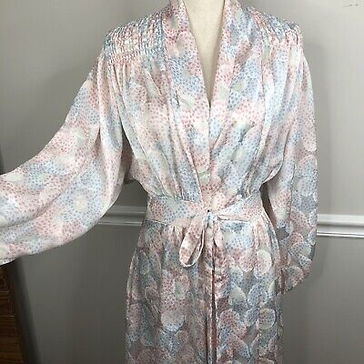 Men's 1920s Style Ties, Neck Ties & Bowties gillian omalley Satin robe 1920s style Hollywood sexy size medium pink blue $39.95 AT vintagedancer.com