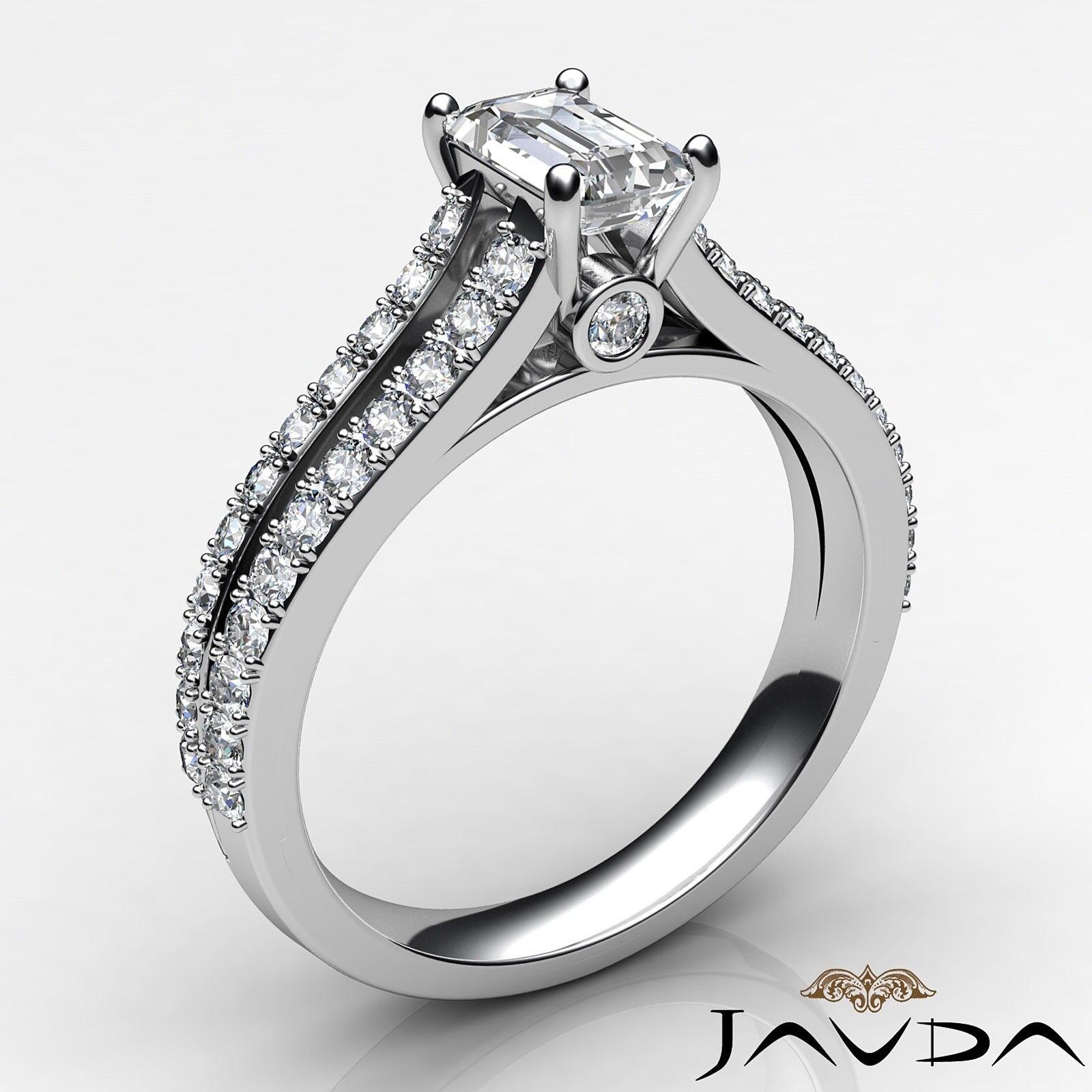 1.45ctw Prong Split Emerald Diamond Engagement Ring Band GIA E-VVS2 White Gold 1