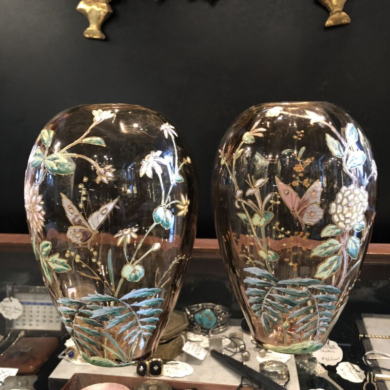 Antique Pair Bohemian Moser Glass Hand Painted Vases w/ Organic Butterfly Design
