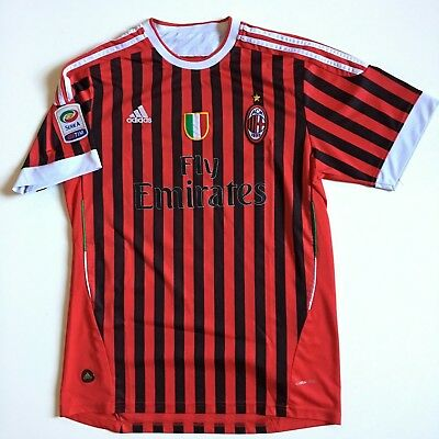 Adidas ACM AC Milan Soccer Football Club Jersey Mens L red black stripes #12