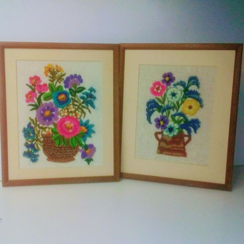 Vintage Crewel Framed Set Of Two Floral Embroidery 70s Wall Decor