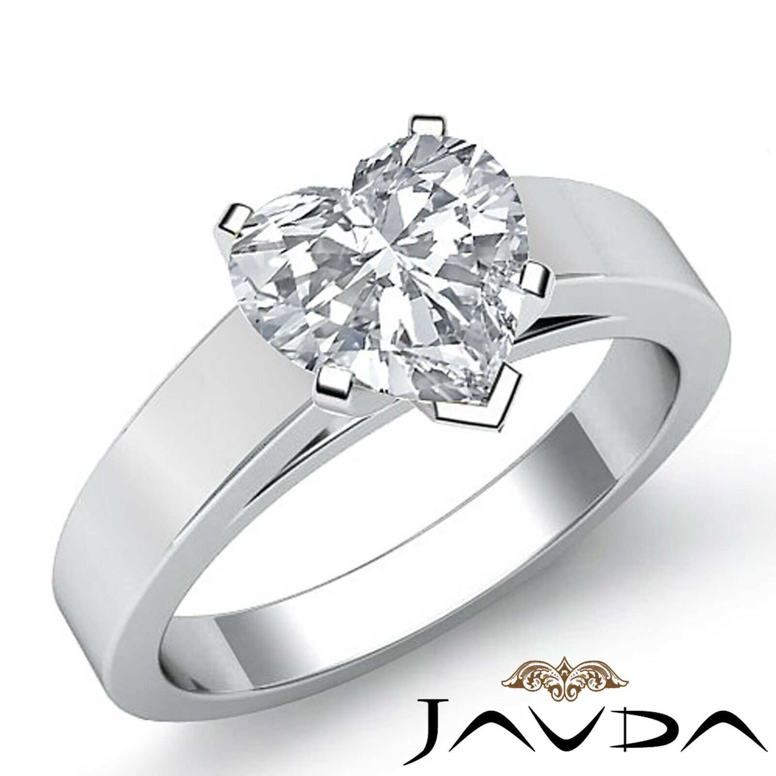 Heart Diamond Engagement GIA H VS2 4 Prong cathedral Solitaire Gold Ring 1.2 ct.