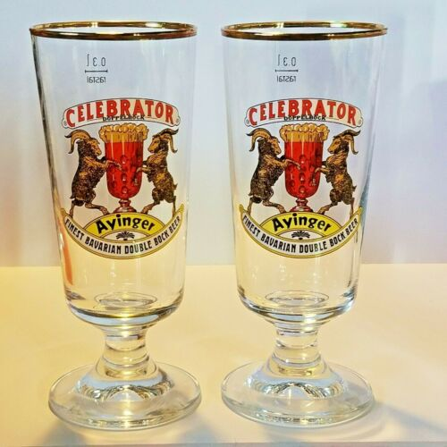 Lot of 2 Ayinger Celebrator Doppelbock Finest Bavarian Stemmed Beer Glasses .3 L